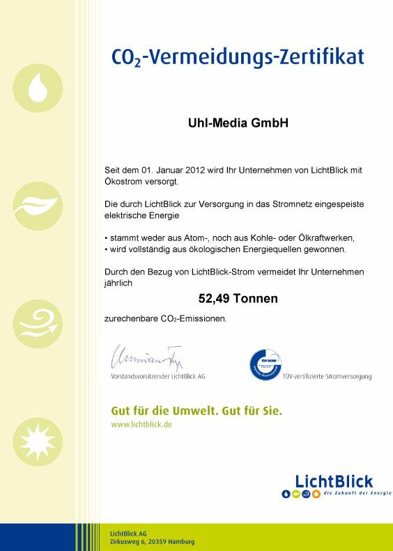 Uhl-Media Ökostrom bei grüner Druckerei